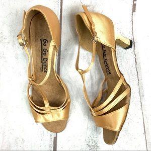 """GO GO Dance Shoes 21/2"""" heels S-9.0 gold"""